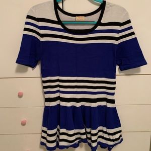 Blue, black and white péplum top by Ronny Kobo